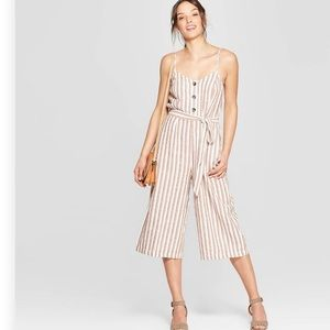 Sleeveless Deep V-Neck Button  Striped Jumpsuit